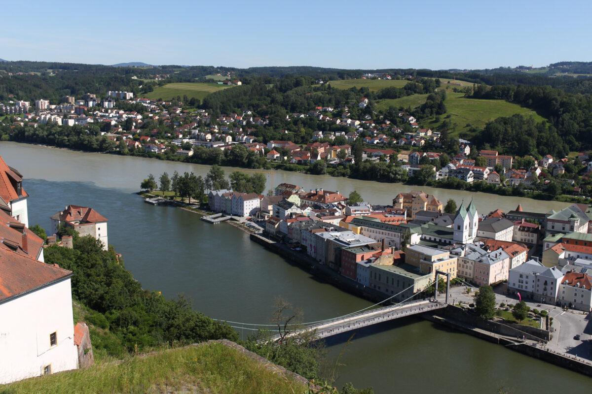 Пассау, Passau, Стрелка, Дунай, Инн